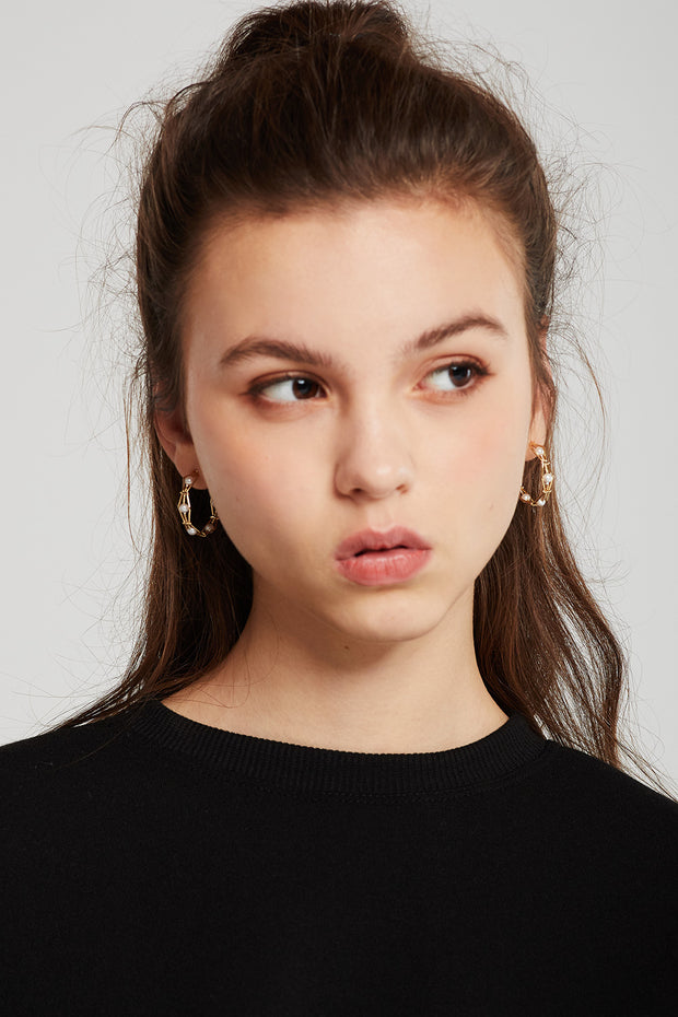 Pearl Embellished Hexagon Hoop Earrings