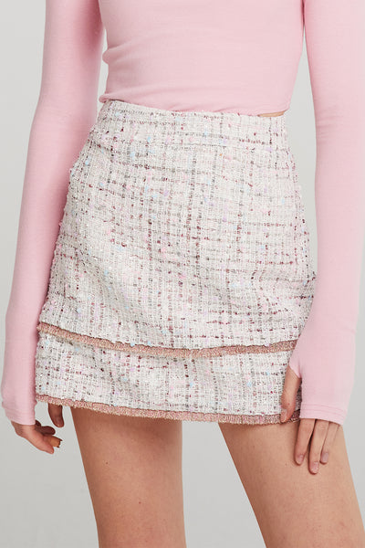 Arden Gold-Trim Tweed Skort