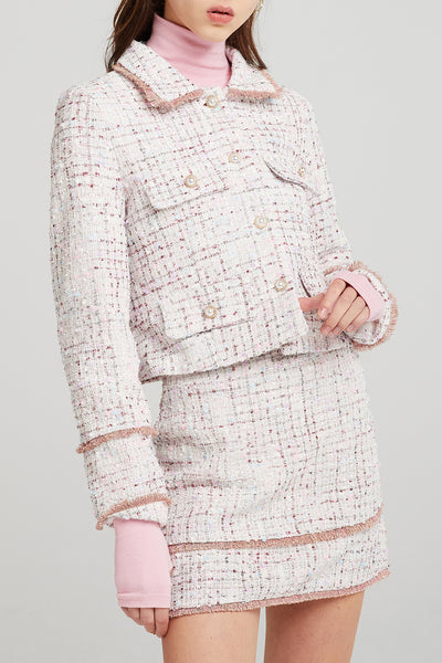 Arden Gold-Trim Tweed Jacket