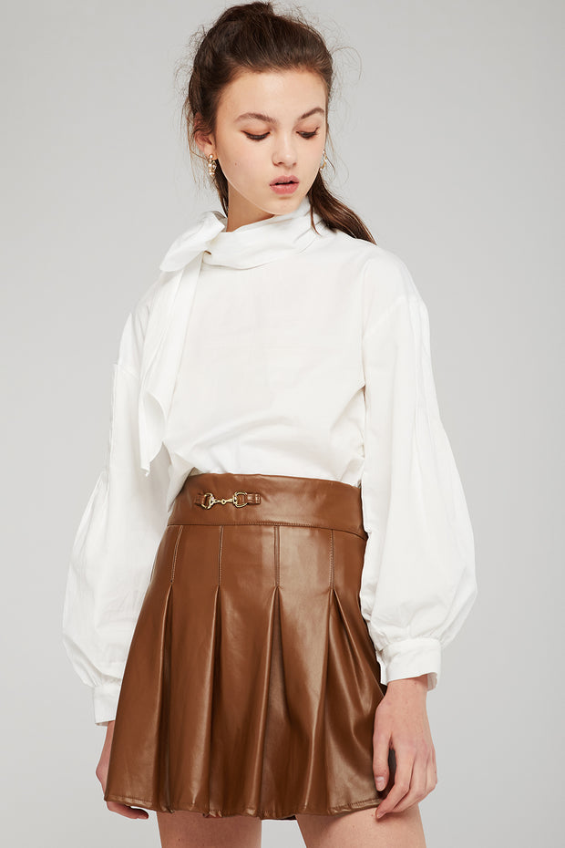 Diana Pleated Pleather Skirt