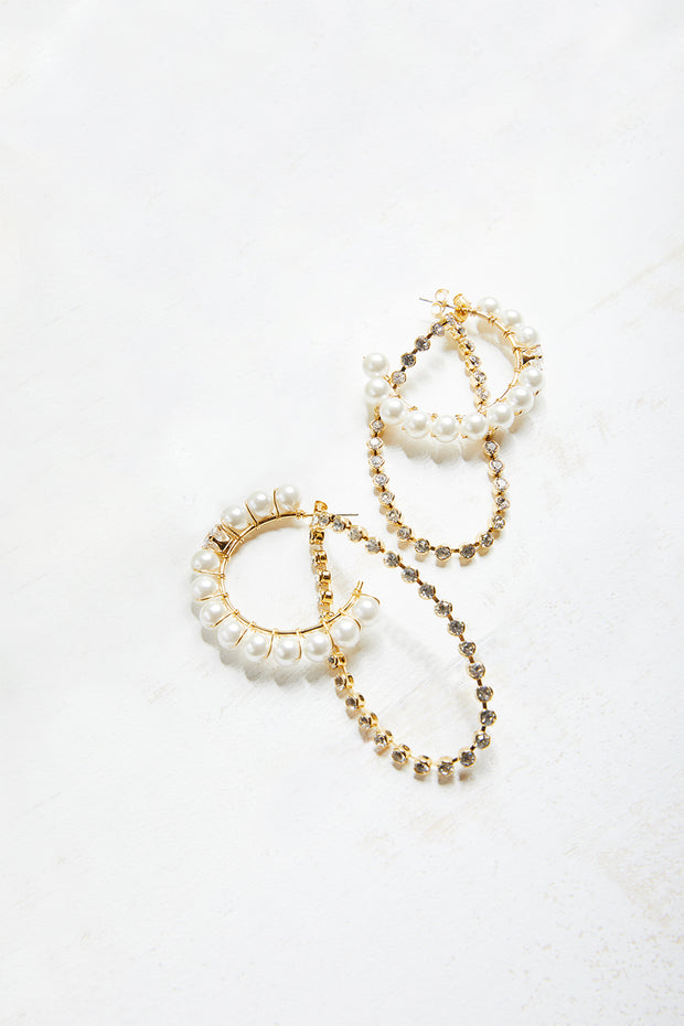 Pearl And Chain Hoop Earrings