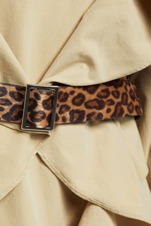 Textured Leopard Print Belt