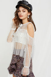 Kendra Sheer Starry Blouse-2 Colors