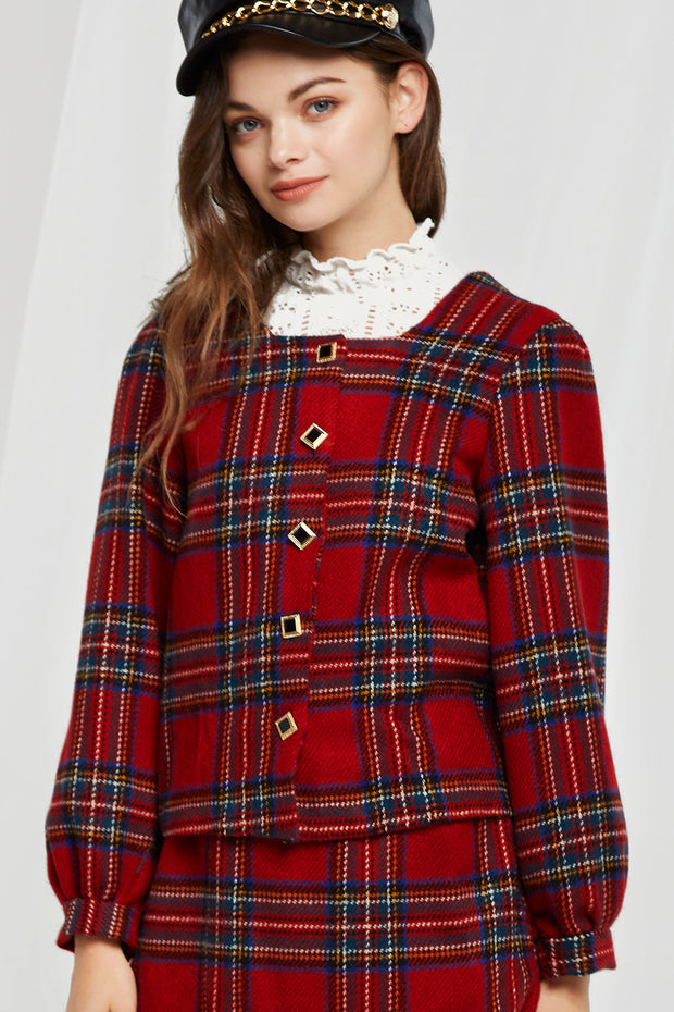 Britta Plaid Buttoned Blouse