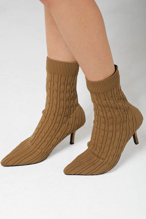 Reggie Cable Knit Sock Heels