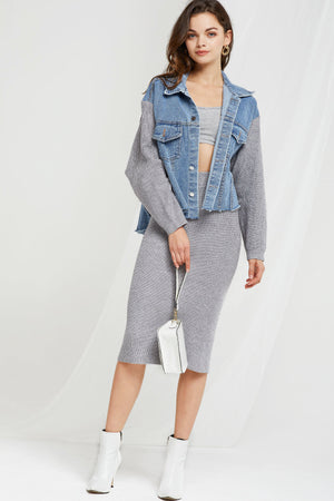 Willa Denim And Knit Set (Pre-Order)