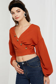 Cecile Puffed Button Top