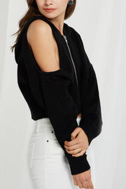 storets.com Sylvie Zipped Coldshoulder Top-2 Colors