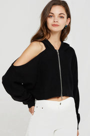 Sylvie Zipped Coldshoulder Top-2 Colors