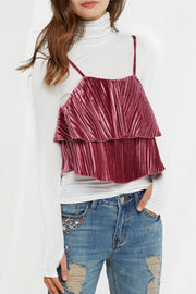 Katerina Satin Pleated Top-2 Colors
