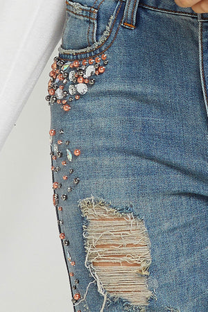 Kaylie Destroyed Jewel Jeans (Pre-Order)