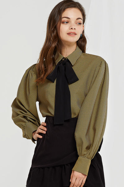Nicole Tied Check Blouse