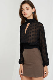 storets.com Chloe Dot Choker Blouse-2 Colors
