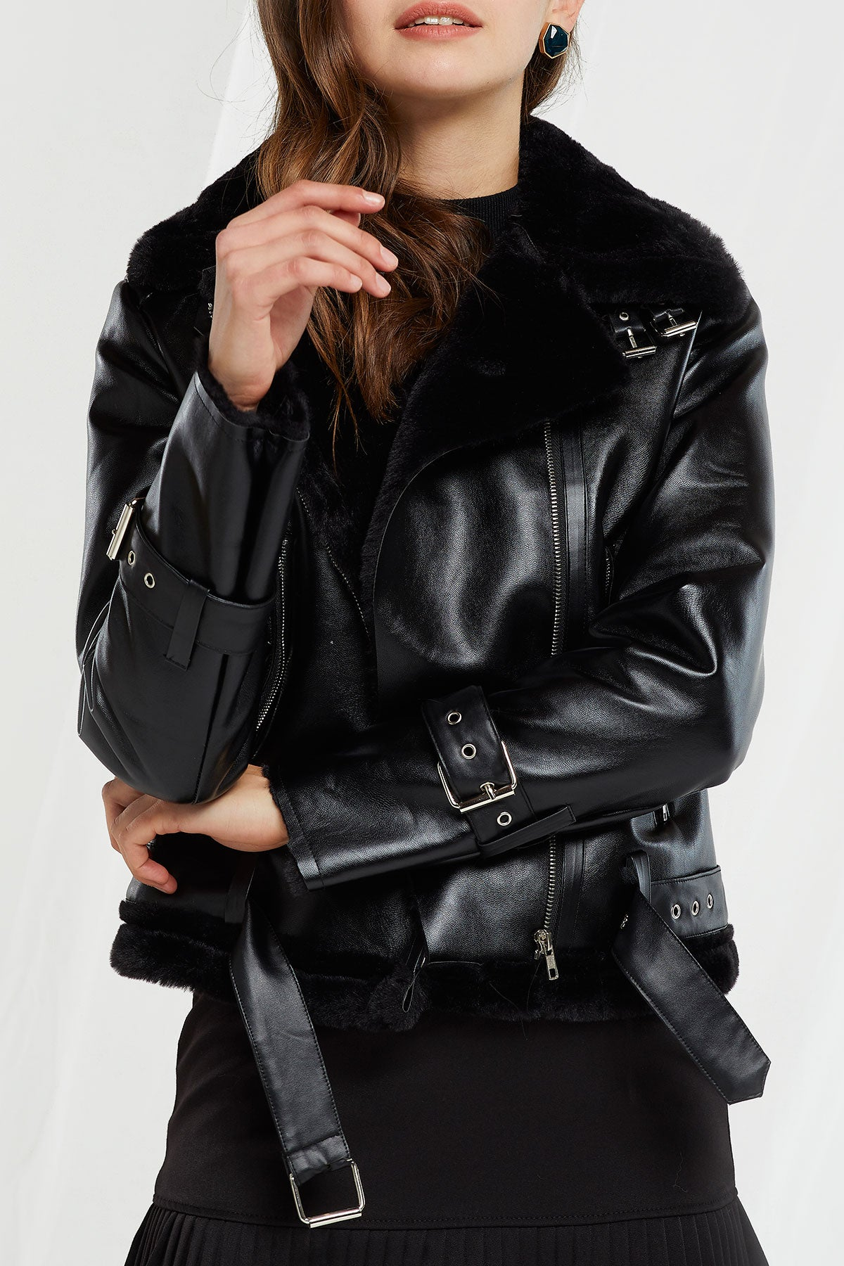 Gina Pleather And Fur Moto Jacket (Pre-Order)