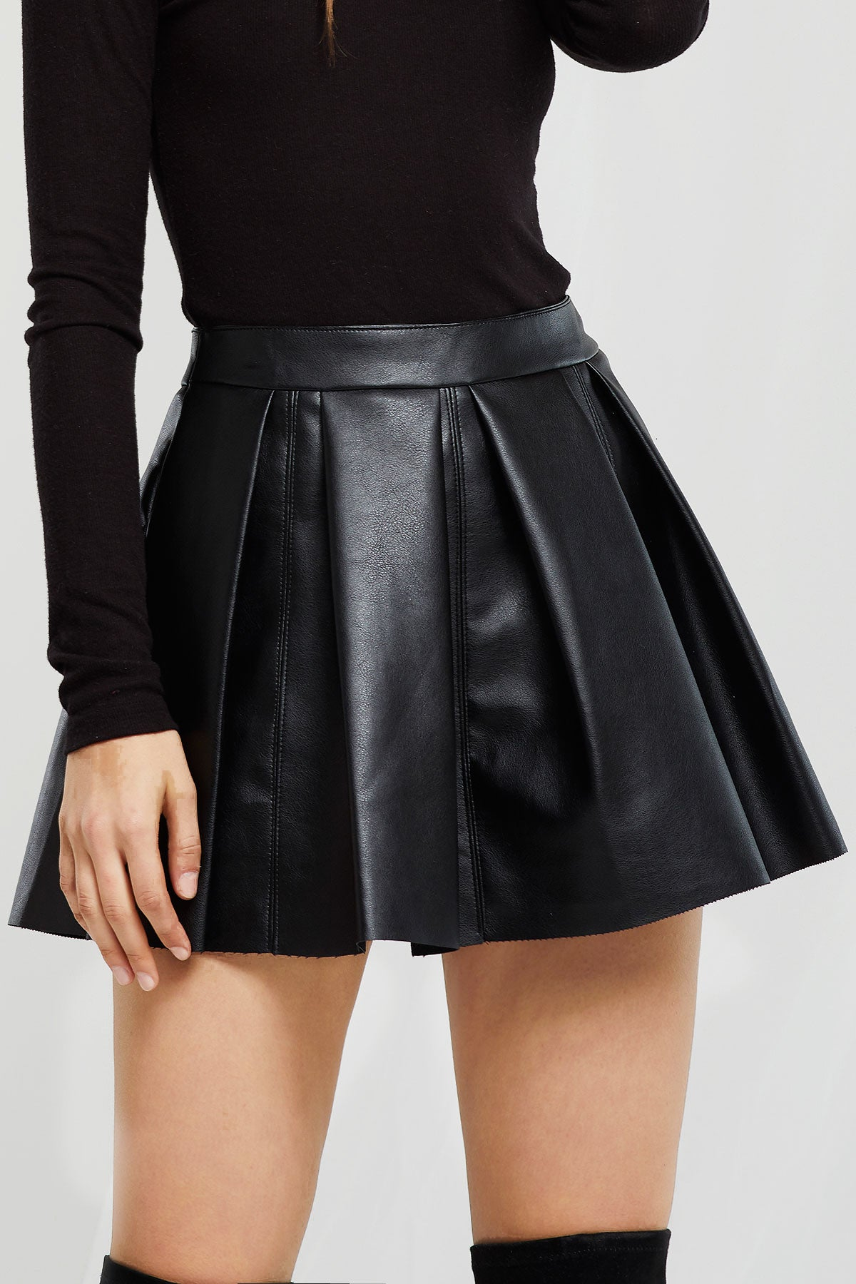 Cassie Pleated Pleather Skirt (Pre-Order)