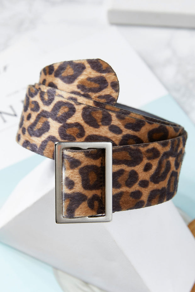 Textured Leopard Print Belt-2 Colors
