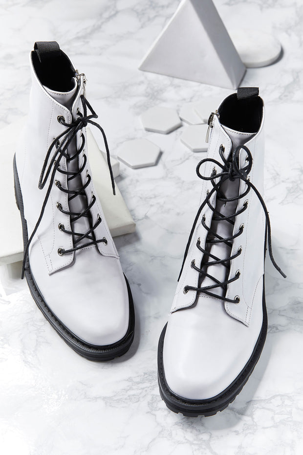 Vivian White Lace Up Boots