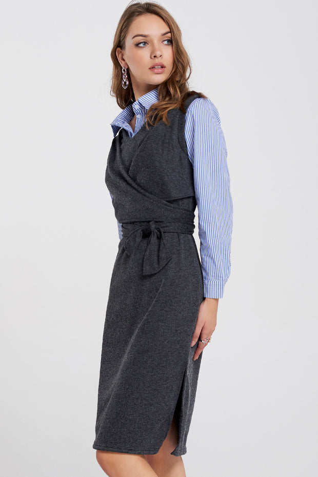 Kathleen Knitted Tie Dress Overlay Shirt
