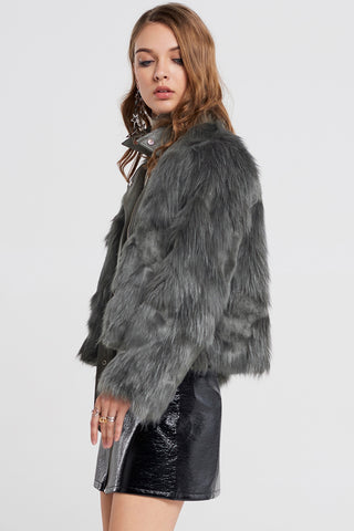 Lucy Faux Fur Overlay Leather Jacket