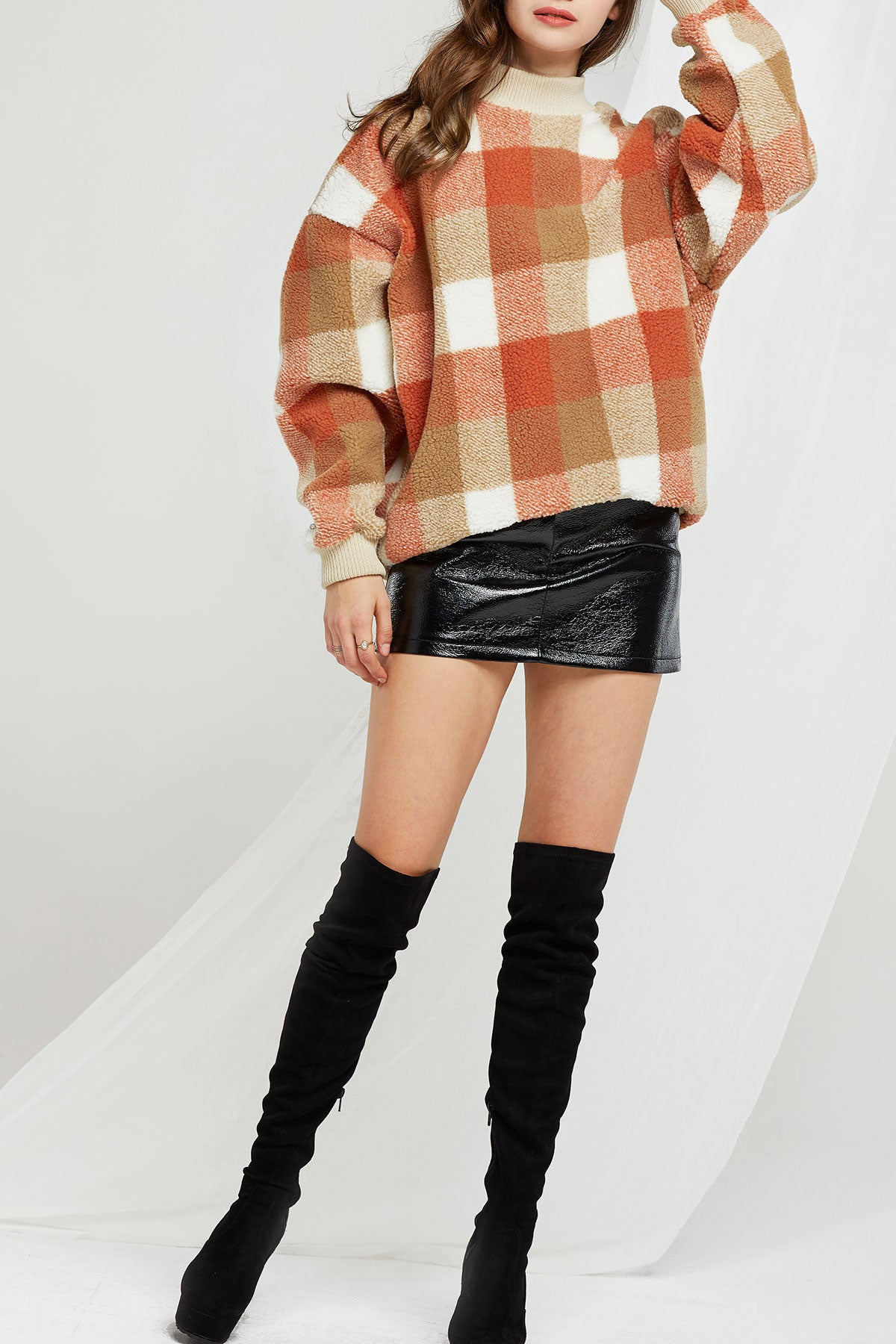 Ivy Plaid Mock Neck Sweater