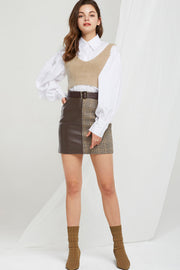Cardi Plaid Pleather Skirt