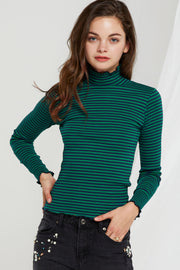 Robyn Striped Mock Neck Top-2 Colors