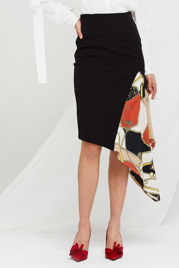 Kathleen Patterned Slit Skirt