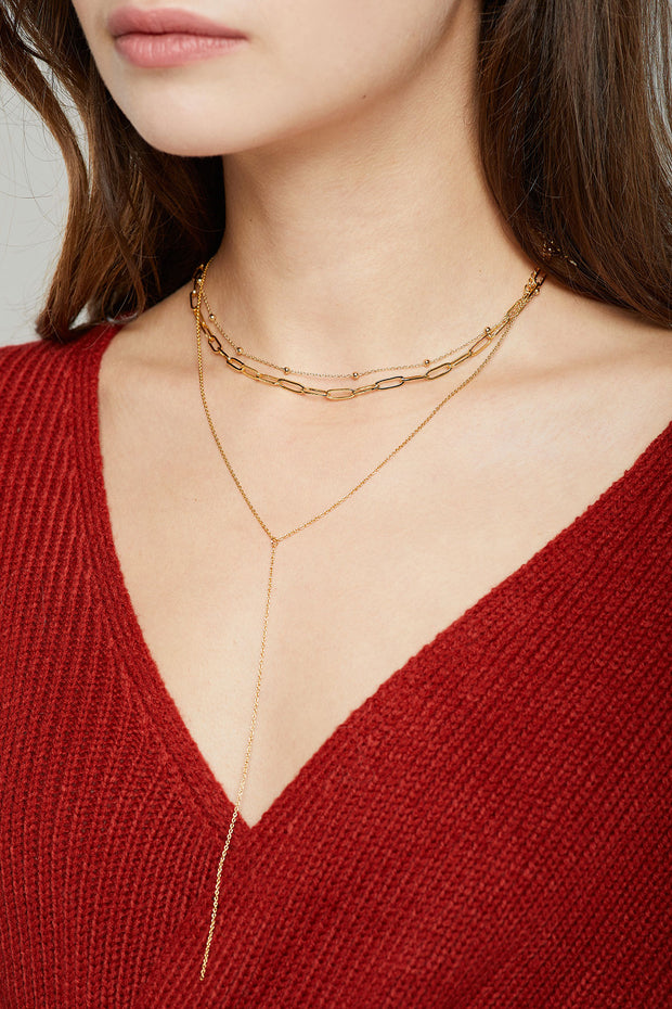 storets.com Layered Chain Drop Necklace
