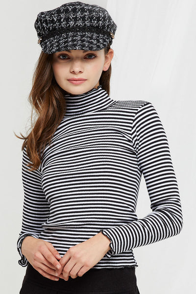 Robyn Striped Mock Neck Top