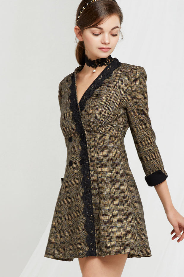 Natalie Lace Plaid Dress with Choker