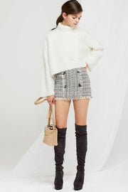 Julia Buttoned Tweed Mini Skirt