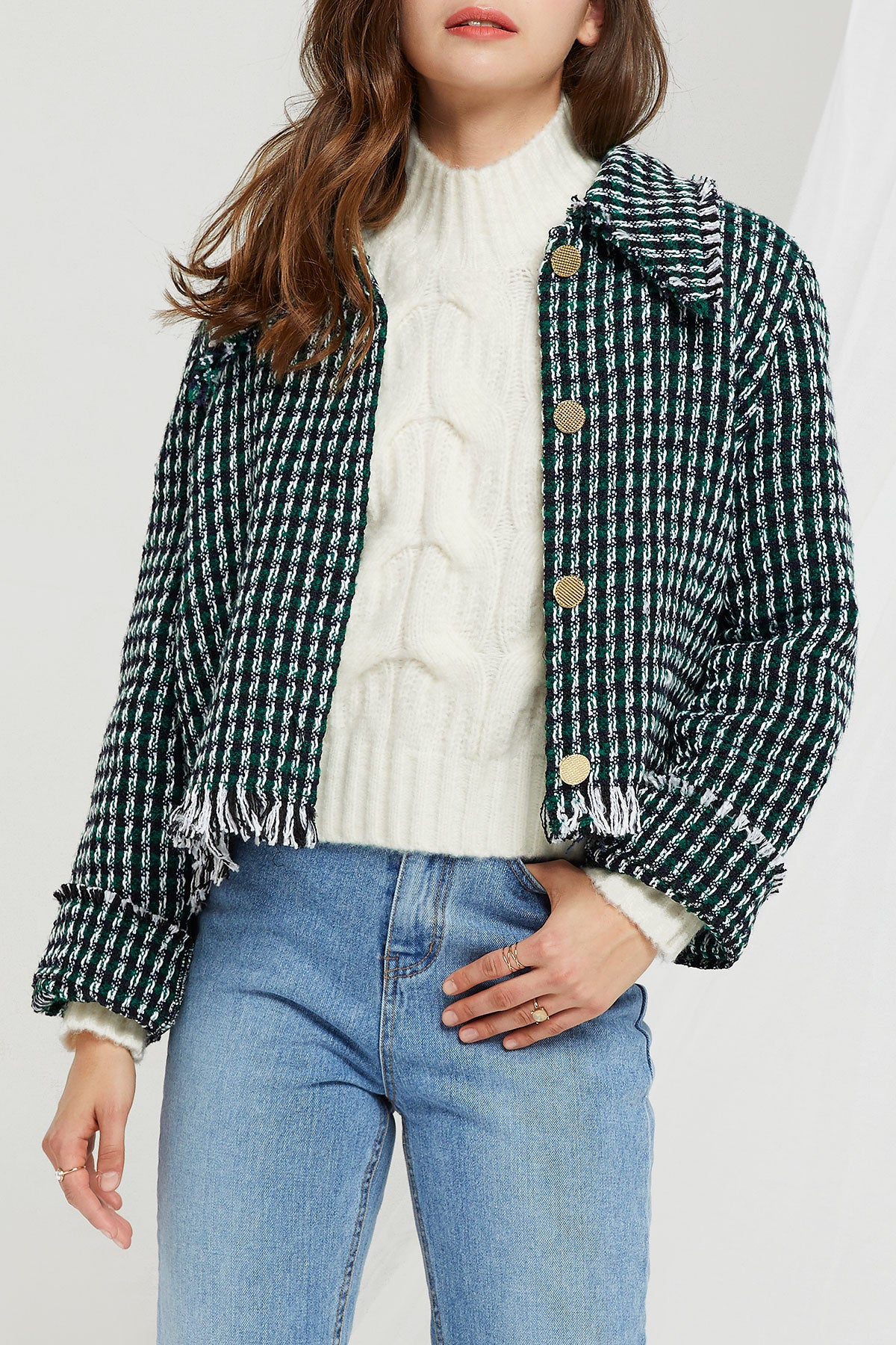 Amelia Fringed Tweed Jacket