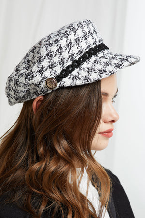 Tweed Houndstooth Newsboy Cap