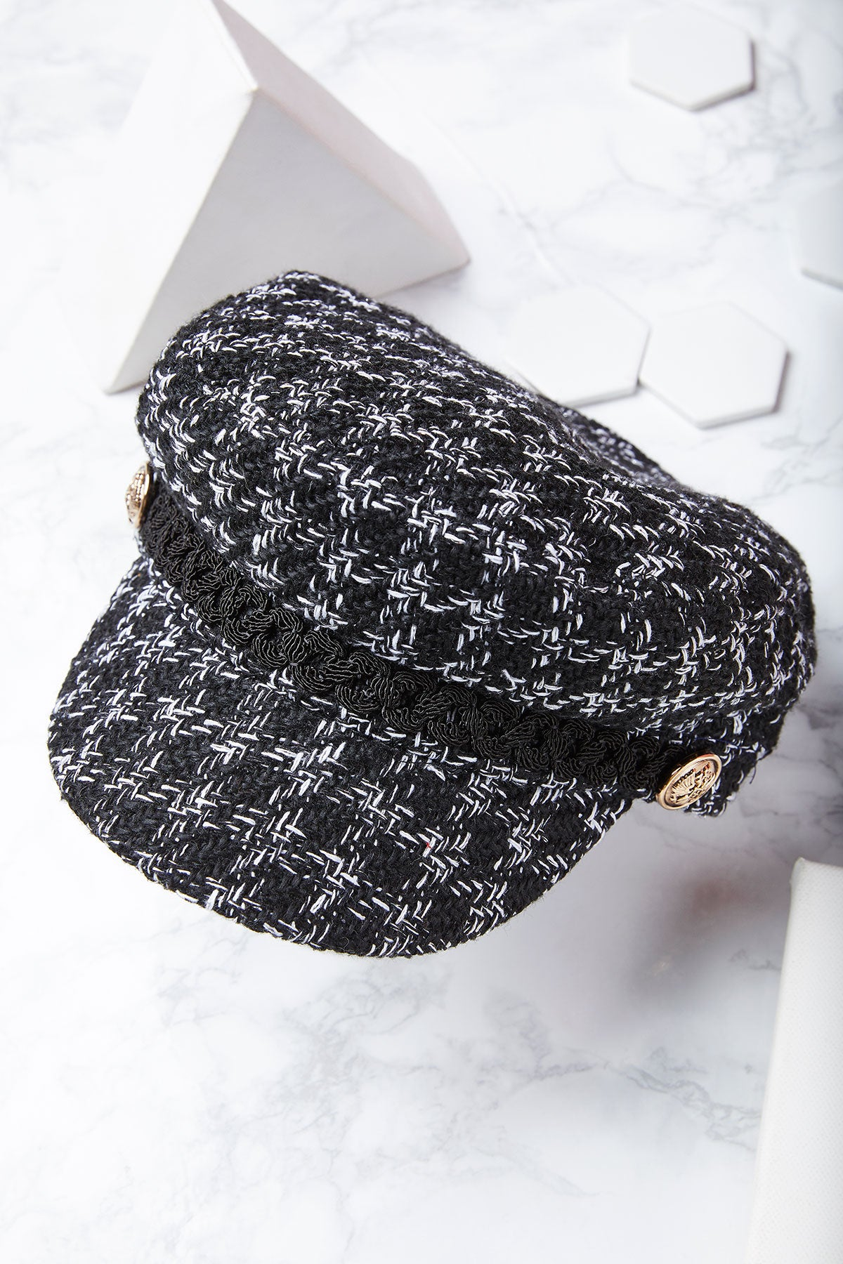 Tweed Houndstooth Newsboy Cap-2 Colors
