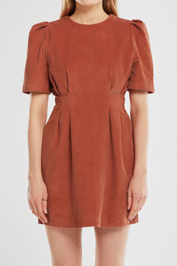 Isabella Cord Puff Sleeve Dress