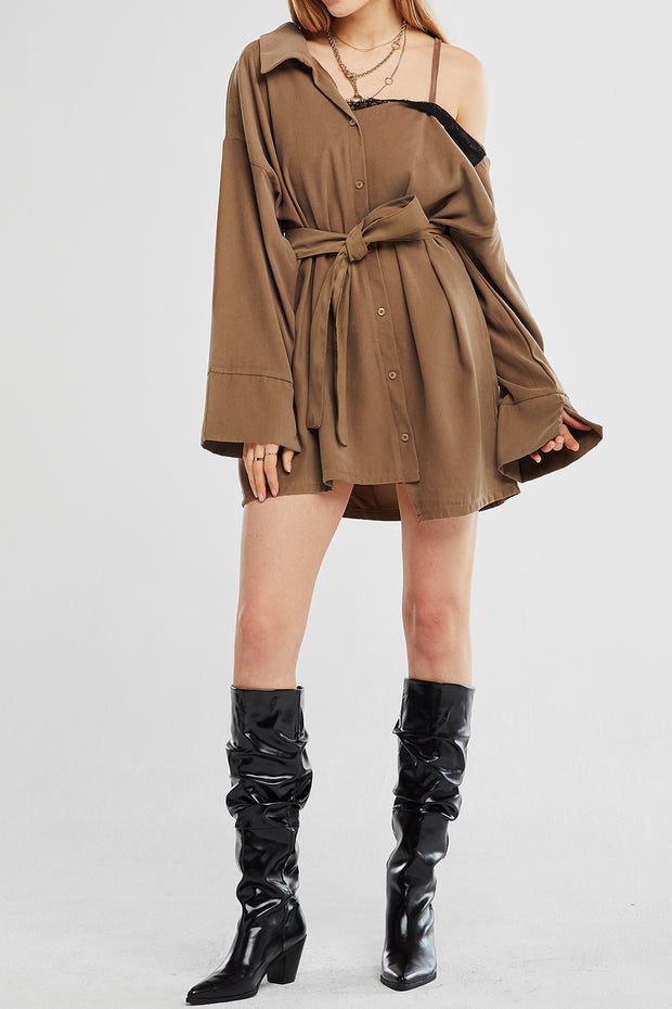 Ruby Cold Shoulder Shirt Dress w/Belt