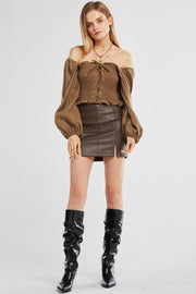 Kaylee Pleather Slit Mini Skirt