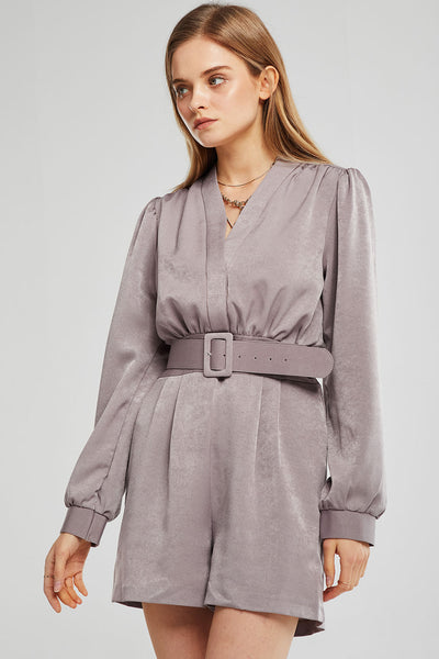 Ella Satin Pintuck Romper w/Belt