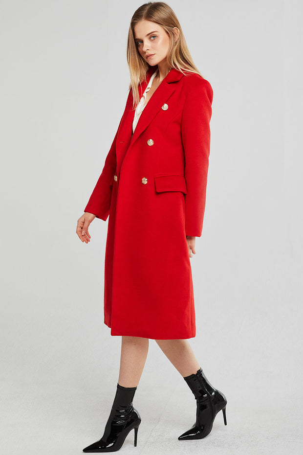 Stella Gold Button Long Coat