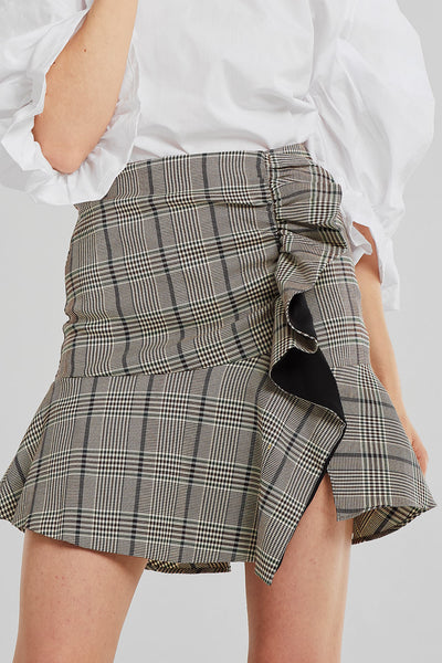 Sadie Frayed Ruffled Plaid Skirt