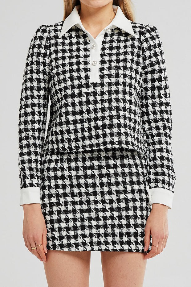 Leah Shirt Collar Tweed Top