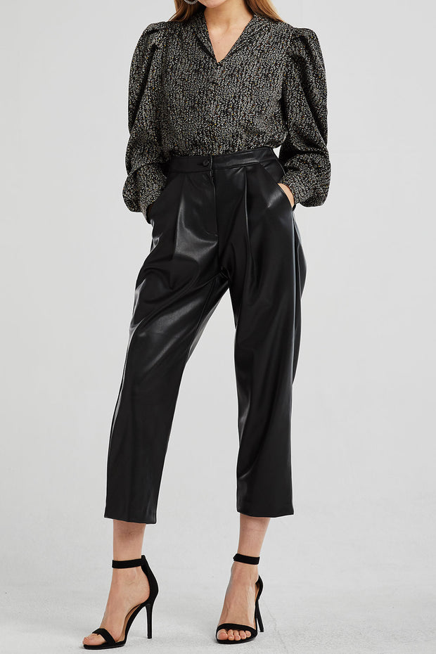 Delilah Pleather Pintuck Pants