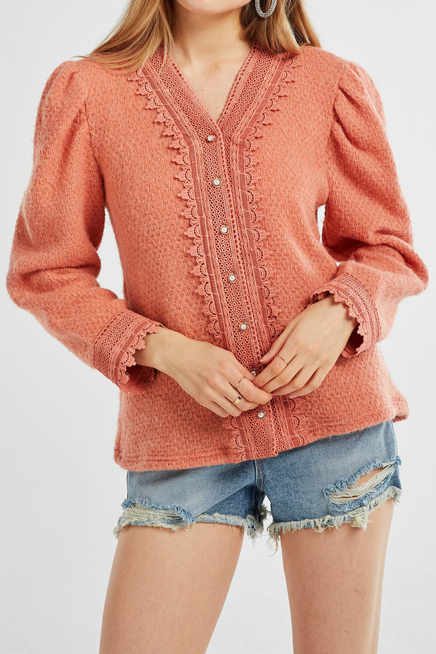 Ariana Lace Trim Fluffy Cardigan