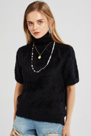 Elena Turtleneck Fuzzy Knit Top