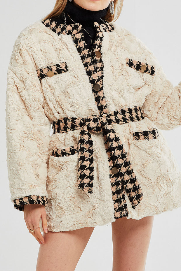 Grace Trimmed Fuzzy Fur Jacket