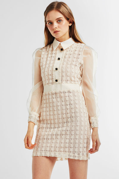 Emma Organza Sleeve Tweed Dress
