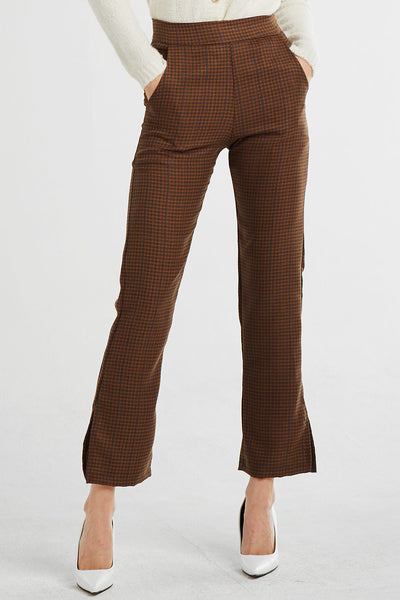 Peyton Checkered Bootcut Pants w/Slit