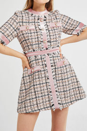 Avery Multi Tweed Romper Dress