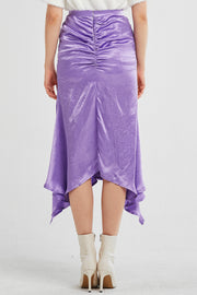 storets.com Aubree Asymmetric Ruched Satin Skirt
