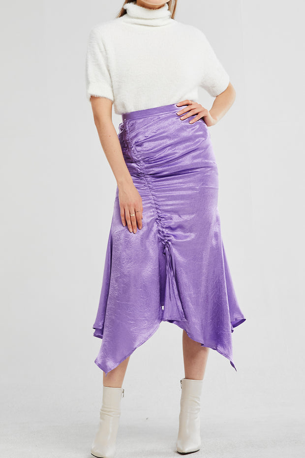 Aubree Asymmetric Ruched Satin Skirt